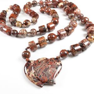 Double Hearts Semi-Precious Stones Necklace Custom